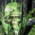 DRAGONFLY ROADHOUSE LOS ANGELES SHIRT NEW Black GREEN HELMET SKULL L FLAMES
