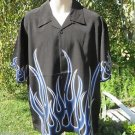 DRAGONFLY SHIRT LARGE Black BLUE WHITE Border Flame NEW PG681 UNLUCKY