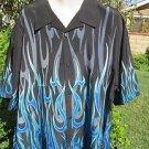 NEW DRAGONFLY SHIRT XXL   Black w/ BLUE WHITE GRAY Border Flame