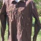 DRAGONFLY SHIRT XL Brown Embroidered Long Sleeve Crisp Cotton EUC
