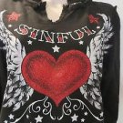AFFLICTION SINFUL HOODIE SWEATSHIRT Black Heart Wings Zip Off Hood