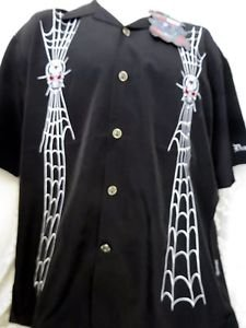 DRAGONFLY SHIRT BIKER SERIES FT710 Large Black Spider Web Skull Black Widow NWT