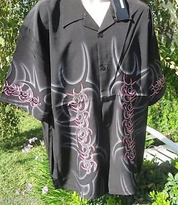 DRAGONFLY SHIRT XXL Black Red Gray Flame Embroidered  NWT CLASSY GRENDEL