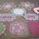 DOILIES VINTAGE Crochet Starched 3D Various Colors Sizes 9 pink white green