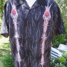 DRAGONFLY SHIRT BLACK FLAMES TRIBAL SKULL LARGE  NEW  Embroidered Club Lounge