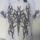 NWT DRAGONFLY SHIRT White Gray SM  Button Front Embroidered Bowl Lounge Billiard