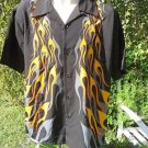 DRAGONFLY SHIRT Black Yellow/orange Grey FLAMES NWT 1682JC