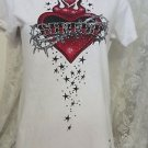 SINFUL By Affliction Tee Shirt WHITE Embellished Heart Flames Stars Medium