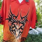 DRAGONFLY SHIRT XL SANDMAN Orange Black Tribal PG326 NWT Club Motor Golf