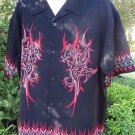DRAGONFLY SHIRT Button Front Black Red HOT Dragon Tribal Flames XL
