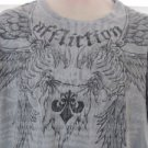 AFFLICTION XL GRAY GRAPHIC  Eagle Wings Tee Shirt EUC
