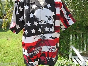 DRAGONFLY ROADHOUSE SHIRT Patriotic Stars Stripes Bike Skull MEDIUM  NEW