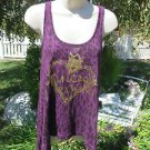 VERA WANG PRINCESS Top Tee Tank Medium Purple Leopard Gold Metallic Graphics