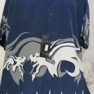 DRAGONFLY SHIRT BLUE WHITE DRAGON Navy Shirt XL NWT  Button Front 2001