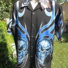 DRAGONFLY SHIRT MEDIUM Loyal To None pg797 Black Blue Flames Skulls NWT BUTTONS