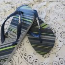 HAVAIANAS FLIP FLOP THONGS 8M USA EUR 41/42 Blue Gray Lime Stripe BEACH WALKER