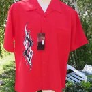 DRAGONFLY SHIRT Button Down NWT Red Embroidered Faux Pocket FURIOUS Medium