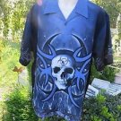 SAPPHIRE LOUNGE DRAGONFLY SHIRT BIOHAZARD XL Blue Skull Tribal NWT Kohls