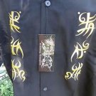 DRAGONFLY SHIRT NWT Chinese Tribal Ft-408  Biker Bowl Rock  Golf Embroidered L