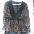 NANETTE LEPORE BLOUSE SIZE 8 Silk Empire Baby Doll Bishop Sleeve Lined Black
