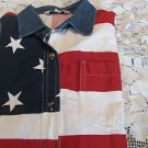 ROPER WESTERN SHIRT FLAG USA Red White Blue Stars Stripe LARGE Short Sleeve