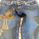 KIPPYS JEANS Studded Swarovski Crystals CROSS Thick Stitched 29 x 33 low flare