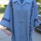 DRAGONFLY SHIRT STAR Baby Blue on Blue Embroidered Button Front FT-502 2002 XL