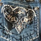 MISS ME JEANS  Boot Low JW5178B 26 x 33 Bling Thick Stitched Chenille Cut