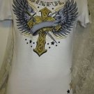 AFFLICTION AMERICAN FIGHTER Small White Glittered Winged Heart Sinful Shirt Tee