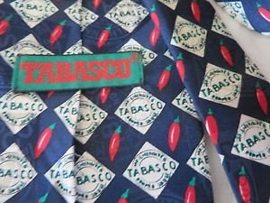 TABASCO TIE BLUE Hot Peppers Novelty Collectible Neck Wear Silk USA Classic