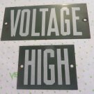 VINTAGE PORCELAIN LINEMAN HIGH VOLTAGE Insulator Sign 2 pc Man Cave Green Power