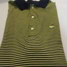 AMEN CORNER POLO SHIRT Augusta Pima Cotton Blue Yellow Stripe Medium GOLF