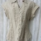 SCULLY BLOUSE WESTERN BEIGE CREWL EMBROIDERY  Medium