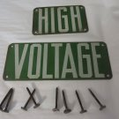 PORCELAIN SIGN  High Voltage Green Insulator Power Line 2 pc Vintage W/Nails