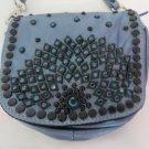 KIPPYS PURSE BELT POUCH Crystals BLUE Metallic Cross Body BLING Dance Cowgirl