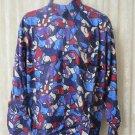 Giorgio DANIELI Shirt Vintage NWT Retro  Rayon Long Sleeve  BLUES PURPLES
