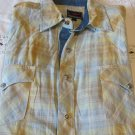 ROPER SHIRT WESTERN PLAID Contrast NEW Large Gold Blue Rodeo Dance Work
