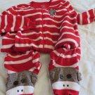 NICK & NORA SLEEPWEAR Pajamas ONE Piece Footed Stripe Red White MED MONKEY