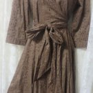 CABI DRESS BROWN EYELET Modified Wrap Lined Career SIZE 8