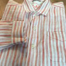 TOMMY BAHAMA relax LINEN  SHIRT  Ivory/Orange  Stripe Large  Camp New Washable