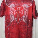 AFFLICTION TEE extreme couture red XL NEW Skull Winged Cross