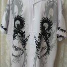 DRAGONFLY SHIRT L  Double Dragon Border Print NEW White Grey Black