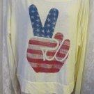 BIRD & VINE Los Angeles Tee Shirt Peace Sign Yellow Long Sleeve NEW Stars Stipe