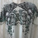 XTREME COUTURE AFFLICTION TEE Mens EAGLE Skull Rose GREEN NEW XL Cotton