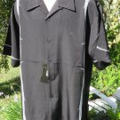 DRAGONFLY SHIRT Large SECURITY Black Gray Barb Wire NWT PG212  Button Front