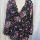 LOVE SADIE Romper Shorts Dress Sheer Floral V Plunge NWT Small