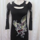 S-TWELVE DRESS BODY CON Black Tattoo Flirty S/P Rib Knit Beach to Club