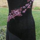 BETSEY JOHNSON SILK DRESS BLACK Sheer Flounce Salsa Style Embroidered SIZE ^