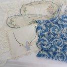 VINTAGE LINEN'S BLUE'S WHITES 9 pc Various  Battenberg Crochet Embroiled Arm Cov