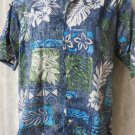 GO BAREFOOT SHIRT SMALL  Button Front BLUES GREENS HAWAIIAN PRINT G
